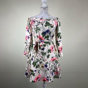 Express off the shoulder long sleeve floral dress